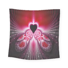 Illuminated Red Hear Red Heart Background With Light Effects Square Tapestry (small)