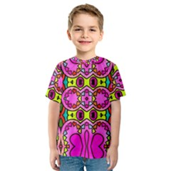 Colourful Abstract Background Design Pattern Kids  Sport Mesh Tee by Simbadda