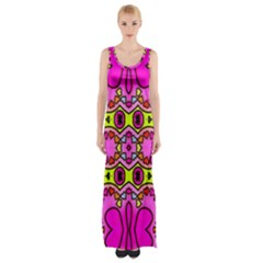 Colourful Abstract Background Design Pattern Maxi Thigh Split Dress by Simbadda