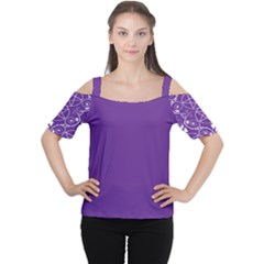 Purple With White Pagan Pentacle Wiccan Cold Shoulder Tee