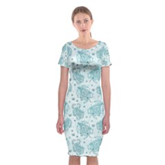 Decorative Floral Paisley Pattern Classic Short Sleeve Midi Dress by TastefulDesigns
