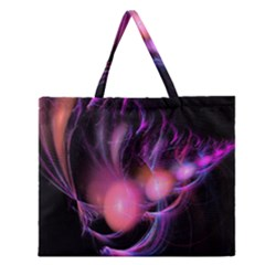 Fractal Image Of Pink Balls Whooshing Into The Distance Zipper Large Tote Bag by Simbadda