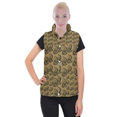 Art Abstract Artistic Seamless Background Women s Button Up Puffer Vest