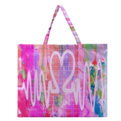 Watercolour Heartbeat Monitor Zipper Large Tote Bag