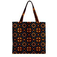 Abstract Daisies Zipper Grocery Tote Bag