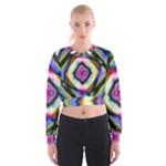 Rippled Geometry  Women s Cropped Sweatshirt