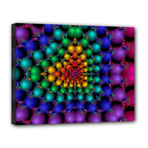 Mirror Fractal Balls On Black Background Canvas 14  X 11  by Simbadda