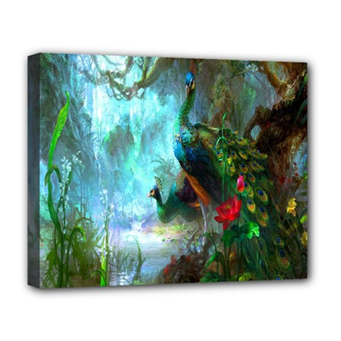 Beautiful Peacock Colorful Deluxe Canvas 20  X 16   by Simbadda