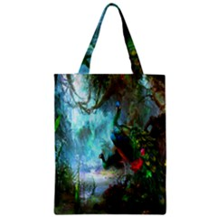 Beautiful Peacock Colorful Zipper Classic Tote Bag by Simbadda