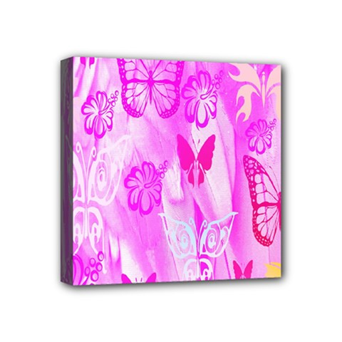 Butterfly Cut Out Pattern Colorful Colors Mini Canvas 4  X 4  by Simbadda