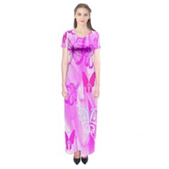 Butterfly Cut Out Pattern Colorful Colors Short Sleeve Maxi Dress by Simbadda
