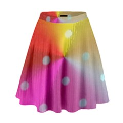 Polka Dots Pattern Colorful Colors High Waist Skirt by Simbadda