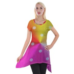 Polka Dots Pattern Colorful Colors Short Sleeve Side Drop Tunic