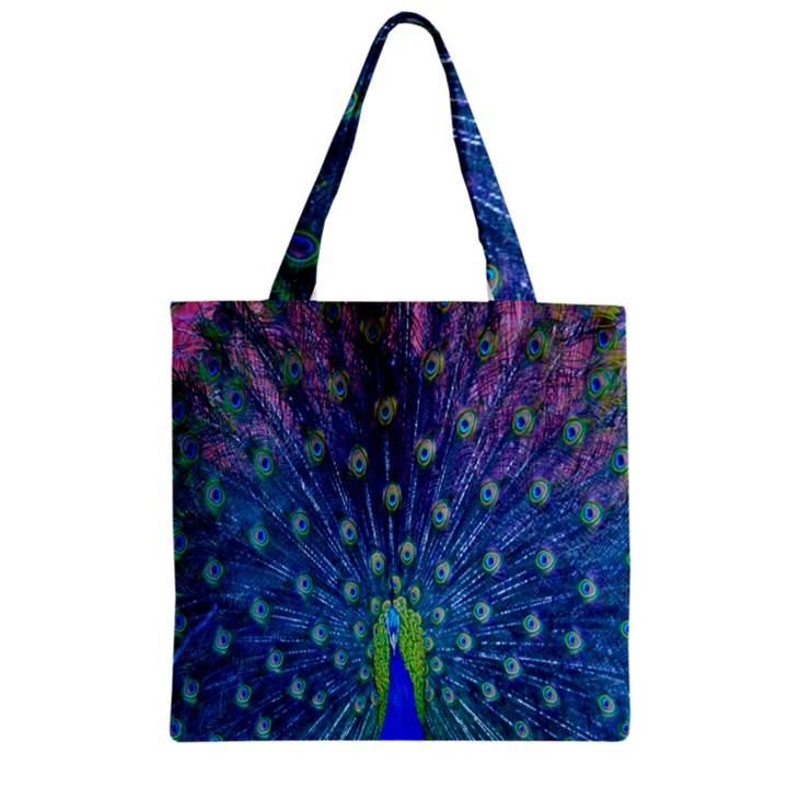 Amazing Peacock Zipper Grocery Tote Bag