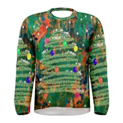 Watercolour Christmas Tree Painting Men s Long Sleeve Tee