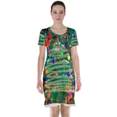 Watercolour Christmas Tree Painting Short Sleeve Nightdress