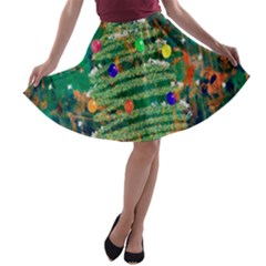 Watercolour Christmas Tree Painting A Line Skater Skirt by Simbadda