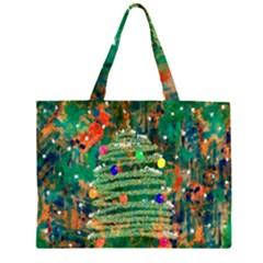 Watercolour Christmas Tree Painting Zipper Large Tote Bag by Simbadda