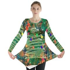 Watercolour Christmas Tree Painting Long Sleeve Tunic  by Simbadda