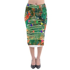 Watercolour Christmas Tree Painting Midi Pencil Skirt by Simbadda