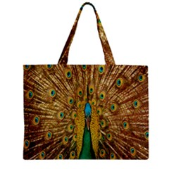 Peacock Bird Feathers Zipper Mini Tote Bag by Simbadda