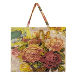 Victorian Background Zipper Large Tote Bag by Simbadda
