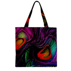 Peacock Feather Rainbow Zipper Grocery Tote Bag by Simbadda