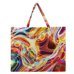 Colourful Abstract Background Design Zipper Large Tote Bag by Simbadda