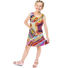 Colourful Abstract Background Design Kids  Tunic Dress by Simbadda