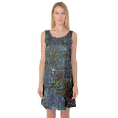 Stone Paints Texture Pattern Sleeveless Satin Nightdress
