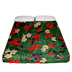 Berries And Leaves Fitted Sheet (california King Size) by Simbadda