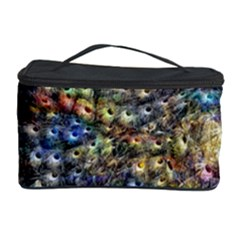 Multi Color Peacock Feathers Cosmetic Storage Case by Simbadda
