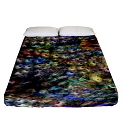 Multi Color Peacock Feathers Fitted Sheet (king Size) by Simbadda