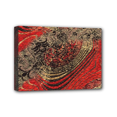 Red Gold Black Background Mini Canvas 7  X 5  by Simbadda