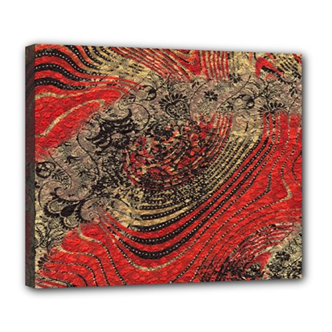 Red Gold Black Background Deluxe Canvas 24  X 20   by Simbadda