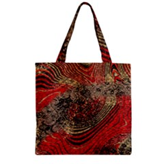 Red Gold Black Background Zipper Grocery Tote Bag by Simbadda