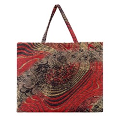 Red Gold Black Background Zipper Large Tote Bag by Simbadda