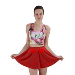 Red Flowers Velvet Flower Pattern Mini Skirt