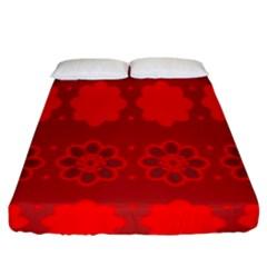 Red Flowers Velvet Flower Pattern Fitted Sheet (king Size) by Simbadda