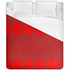 Red Flowers Velvet Flower Pattern Duvet Cover (california King Size) by Simbadda