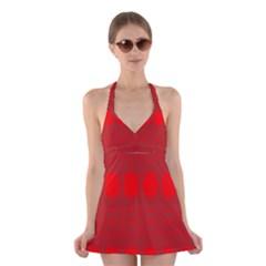 Red Flowers Velvet Flower Pattern Halter Swimsuit Dress