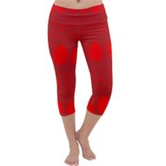 Red Flowers Velvet Flower Pattern Capri Yoga Leggings