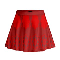 Red Flowers Velvet Flower Pattern Mini Flare Skirt