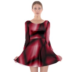 Red Abstract Background Long Sleeve Skater Dress