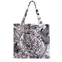 Black Abstract Floral Background Zipper Grocery Tote Bag by Simbadda
