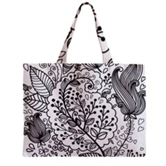 Black Abstract Floral Background Zipper Mini Tote Bag by Simbadda