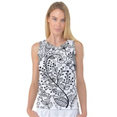 Black Abstract Floral Background Women s Basketball Tank Top