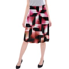 Red And Pink Abstract Background Midi Beach Skirt