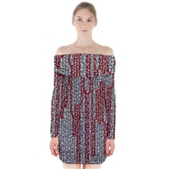 Abstract Geometry Machinery Wire Long Sleeve Off Shoulder Dress by Simbadda