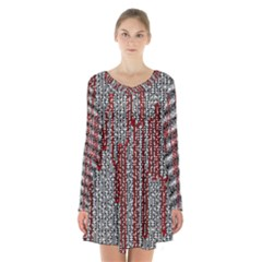 Abstract Geometry Machinery Wire Long Sleeve Velvet V Neck Dress
